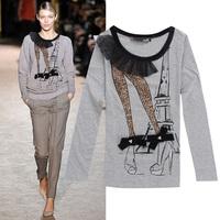 High-heeled shoes pattern cotton slim long-sleeve t shirt women 3colors S,M,L,XL wholesale price