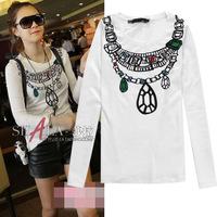 2014 new arrival diamonds necklace print long sleeve cotton t shirt women 3colors S,M,L,XL