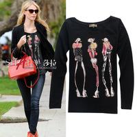 2014 spring and autumn cotton cartoon long-sleeve t shirt women 2colors S,M,L,XL Wholesale price