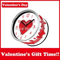 Free  Shipping Valentine's Day Love Wall Clocks Heart Design Gift Clocks In Magnetics Desk Table Clocks