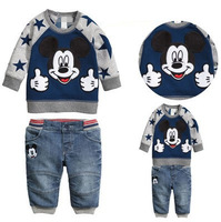 New Spring & Autumn Kids Cartoon Clothing Sets Boys Girls Fashion Tracksuits T shirt + Denim Pants Suit With Mickey