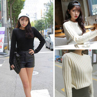 2014 winter long-sleeve basic crop top sweater slim vertical stripe o-neck short design sweater top for woman pullovers white
