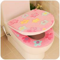Plush zipper thickening toilet mat seat toilet set waterproof thermal toilet sets pad twinset