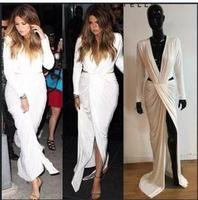 Women White Longo Dress New Arrival Maxi Sexy Club Dress 2014 Full Sleeve BodyCon Vestidos De Festa Elegant Bandage Dresses 027