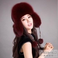 2014 fur hat fox fur hat lei feng multicolor autumn and winter female winter little red riding hood dome women's