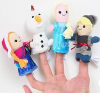 2014 new Frozen Finger Puppet Frozen Anna Elsa Kristoff Olaf Finger Dolls 4pcs/set Stuffed plush Toys for Baby Christmas gift