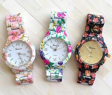 New Fashion Floral Flower GENEVA Watch GARDEN BEAUTY BRACELET WATCH Women Dress Watches Quartz Wristwatch Watches AW-SB-1128