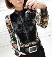 women's vintage fancy rabbit fur patchwork basic slim chiffon shirt female long-sleeve