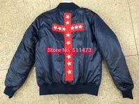 2014 new hip hop kanye west yeezus Red Cross Star mens Long-sleeve jacket coat in navy