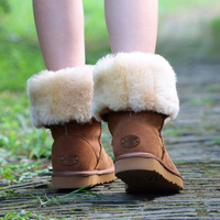 Snow boots female cotton boots cowhide cow muscle boots winter boots outsole lovers shoes high