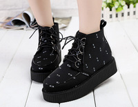 Japan Harajuku Print Eyes Lacing Flat Platform Round Toe Ankle Boots Women Winter  Fashion Black  Suede Shoes 886 - 19