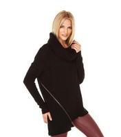 Oversized Knitted Thread Jacket Pullovers Women Metal Zipper Oblique Split Turtleneck Sweater Casual Shirts