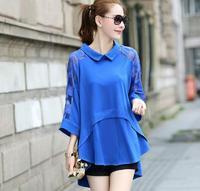New Blusas Plus Size Women Clothing 2014 Autumn European Fashion Gauze Patchwork Peter Pan Collar 3/4 Sleeve Loose Blouse Casual