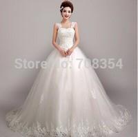 Freeshipping with EMS! Luxury Palace Style Lace Decorated Long Trailing Wedding Dress 723