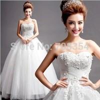 Hot Selling~~~Romantic Sweetheart Crystal Cross Pleated Princess Wedding Dress 725(freeship with petticoat)