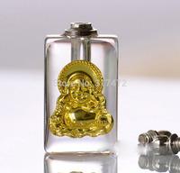 "Gold ""Buddha"" glass vial pendant rice art pendant  DIY freeshipping"