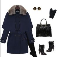 Woman Wool Trench Coat Plus size OL Female Coat Collar Fur Brand Designers Women's Warm Coat Wool & Blends Winter Poncho qn01