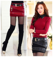 new fashion spring autumn winter woollen faux leather black red plus size casual short pencil skirt women skirts female 2014