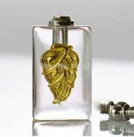 "top hot ""leaf""glass vial pendant  rice pendant DIY screw cap"