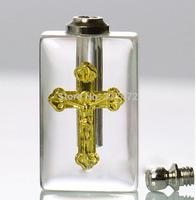 CROSS shape vial pendant rice art pendant  DIY jewelry pendant