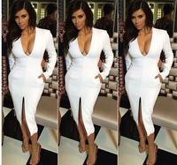 Women White Vestido New 2014 Noble Temperament Career  Vestido V Pencil Wear to Work Bodycon Dress Sexy Deep V-neck Bandage 030