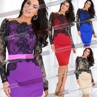 Plus Size S-XXL Drop Shipping 2014 Autumn New Fashion Women Elegant Lace Sexy Slim Long Sleeve Celebrity Bodycon Evening Dresses