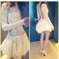 Sexy Club Mini Dress White Prom Elegant Evening Lace Dress Selena Gomez Type Backless Lace Hollow Long Sleeve Short Dress XL 031