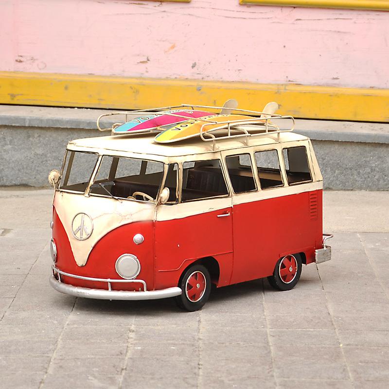 Creative Crafts wrought iron ornaments retro home accessories skateboard public bus beach bar car model(China (Mainland))