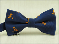 men yellow skull pattern bowtie/navy pinstripe new style man fashion clothing accessories bow tie