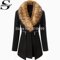 Sheinside Fashion Brand 2014 Autumn/Winter Women's Black Fur Collar Long Sleeve Zipper Woolen Coat