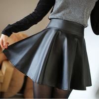 Free Shipping High Waist Skirts Womens 2014 Winter Women Caual Elastic Waist Mini  Pleated Leather Skirts Female saias femininas