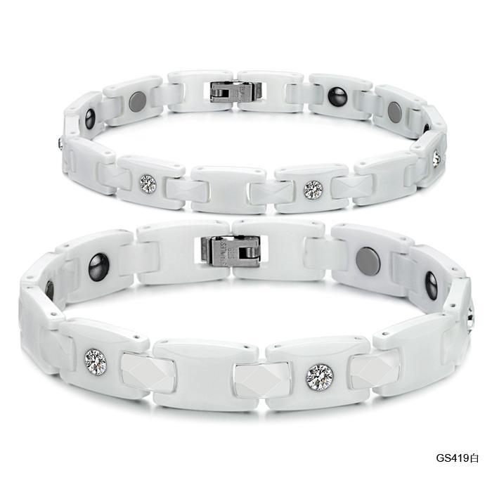 Luxury White Ceramic Health Care Couple Bracelet CZ Diamond Inlaid Women Bracelet Men Jewelry High Quality Promotion 419(China (Mainland))