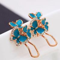 New Design Gold Plated Alloy Blue Butterfly Flower White Rhinestone Earrings for Women  SE627