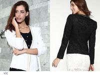 casacos femininos Fashion 2014 White Black Jacquard Jeweled Shawl Small Coat Korean Version Suit blazer women jacket