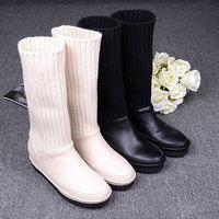 2014 winter women's genuine leather elevator medium-leg yarn bootleg boots