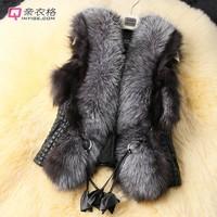 2014 Design European Women Winter Faux fox fur Coat Jacket Vest Parka Overcoat Waistcoat Outerwear Plus Size Fur Vest