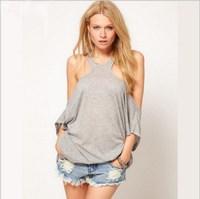 2014 New Fashion Casual Women Lady Off Shoulder T Shirts Short Sleeve Shirt Tops, Black, White, Gray, S, M, L