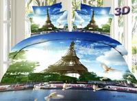 2015 New gifts & presents free shipping via UPS DHL FedEx 3D Eiffel Tower kids comforter bedding sets; Jogo de cama/bedclothes