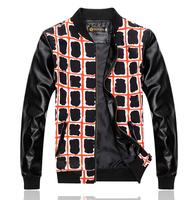 Leather sleeve splice mens coats Water jackets Grid design Baseball shirts Fashion Drop shipping New 2014 Autumn
