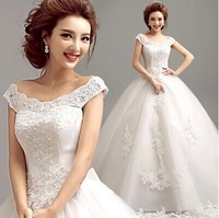 Freeship with petticoat~2014 New Arrival Lace  Embroidery Princess Wedding Dress 721