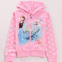 Children Hoodies for Girls Frozen Anna'and Elsa's Long Sleeve clothes Wear zipper  Cartoon Hoodies jacket coats BOS.F6