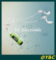 20pcs/ lots100% waterproof  4GB LCD Screen metal case waterproof mp3 FM radio swimming mp3 player bulit-in speaker