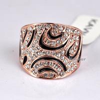 Christmas Big Sale Jewelry Ring Rose Gold Plt Austrian Crystal Black Enamel Finger Ring For Women  R3940