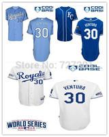 2014 New Cheap Stitched Men's Kansas City Royals Jersey #35 Hosmer #4 Gordon #30 Yordano Ventura With 2014 World Series Patch