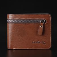 3 colors bi-fold zipper wallet men coin purse PU & genuine leather wallets  BLR0814