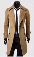mens fashion 2014 Winter casual Breasted men's Overcoat Wholesale unique slim outerwear long design double breasted wool coat