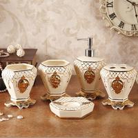 Free shippingEuropean luxury embossed gold ceramic bathroom Wujiantao head mounted wash toiletries wedding housewarming gift