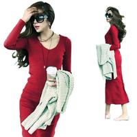 6 6 women's new arrival autumn and winter long sleeve knitted dress full length slim elegant basic skirt