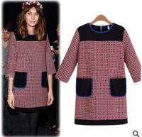 2014 Runway Dress Women's High Quality Dresses OL European Women Office Dresses Lace Plus Size Brand Dress Fall Winter qn03