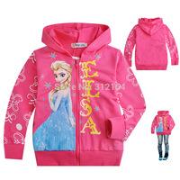 Frozen Elsa Anna Children Outerwear Coats For Girls Brand Cartoon Jacket Winter Autumn Baby Kids Hoodies Clothing zipper BOS.F14